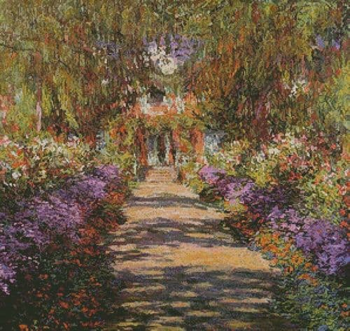 A Pathway in Monets Garden Giverny by Artecy printed cross stitch chart